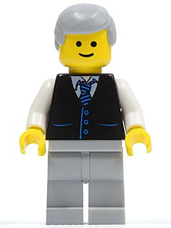 Black Vest with Blue Striped Tie, Light Bluish Gray Legs, White Arms, Light Bluish Gray Male Hair, Smile