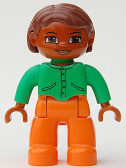 Duplo Figure Lego Ville, Female, Orange Legs, Bright Green Top with Buttons and Pockets, Reddish Brown Hair, Brown Eyes