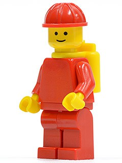Plain Red Torso with Red Arms, Red Legs, Red Construction Helmet, Yellow Airtanks