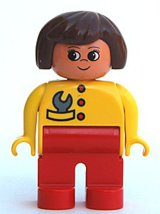Duplo Figure, Female, Red Legs, Yellow Top with Red Buttons & Wrench in Pocket, Brown Hair, Turned Up Nose