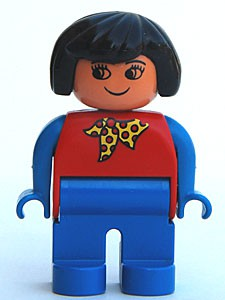 Duplo Figure, Female, Blue Legs, Red Top With Yellow And Red Polka Dot Scarf, Blue Arms, Black Hair, without Nose