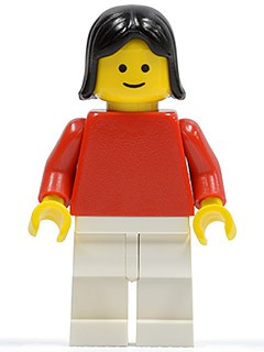 Plain Red Torso with Red Arms, White Legs, Black Female Hair