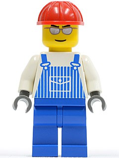 Overalls Striped Blue with Pocket, Blue Legs, Red Construction Helmet, Silver Glasses and Eyebrows