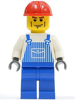 Overalls Striped Blue with Pocket, Blue Legs, Red Construction Helmet, Cheek Lines, Dark Bluish Gray Hands (7990)