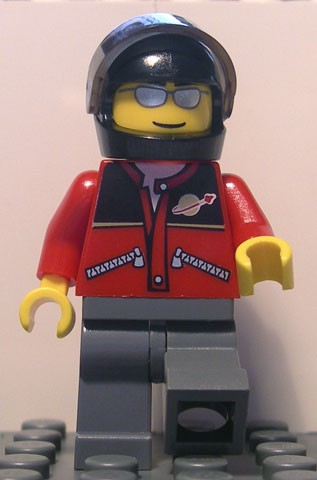 Red Jacket with Zipper Pockets and Classic Space Logo, Dark Bluish Gray Legs, Black Helmet, Silver Sunglasses