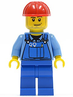 Overalls with Tools in Pocket Blue, Red Construction Helmet, Smirk and Stubble Beard