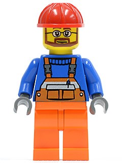 Overalls with Safety Stripe Orange, Orange Legs, Red Construction Helmet, Beard and Glasses