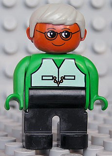 Duplo Figure, Male, Black Legs, Green Top with Vest, Brown Head, Gray Hair, Glasses