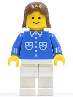 Shirt with 6 Buttons - Blue, White Legs, Brown Female Hair