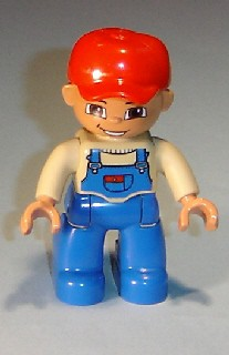 Duplo Figure Lego Ville, Male, Blue Legs, Tan Top with Blue Overalls, Red Baseball Cap