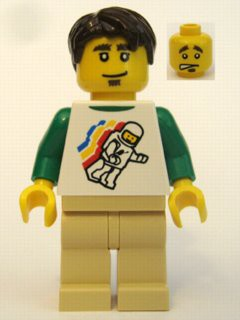 Classic Space Minifig Floating Pattern, Tan Legs, Dark Brown Short Tousled Hair