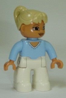 Duplo Figure Lego Ville, Female, White Legs, Bright Light Blue Top, Tan Ponytail Hair, Brown Eyes