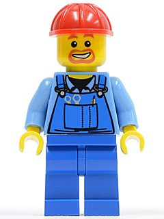 Overalls with Tools in Pocket Blue, Red Construction Helmet, Beard around Mouth