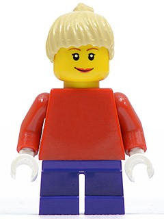 Plain Red Torso with Red Arms, Dark Purple Short Legs, Tan Female Ponytail Hair, Brown Eyebrows (10199)