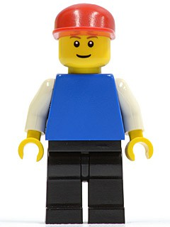 Plain Blue Torso with White Arms, Black Legs, Red Cap, Brown Eyebrows, Thin Grin