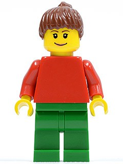Plain Red Torso with Red Arms, Green Legs, Reddish Brown Ponytail Hair, Eyebrows