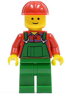 Overalls Farmer Green, Red Construction Helmet