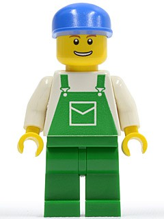 Overalls Green with Pocket, Green Legs, Blue Cap, Thin Grin with Teeth