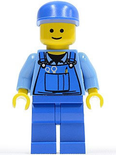 Overalls with Tools in Pocket Blue, Blue Cap, Standard Grin