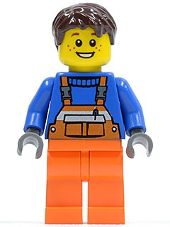 Overalls with Safety Stripe Orange, Orange Legs, Dark Brown Tousled Hair, Open Grin and Freckles