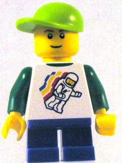 Classic Space Minifig Floating Pattern, Blue Short Legs, Lime Short Bill Cap