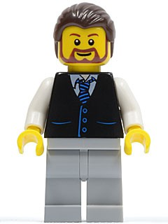 Black Vest with Blue Striped Tie, Light Bluish Gray Legs, White Arms, Dark Brown Hair, Brown Beard Rounded