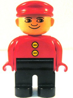 Duplo Figure, Male, Black Legs, Red Top with 2 Yellow Buttons, Red Cap, no White in Eyes Pattern