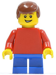 Plain Red Torso with Red Arms, Blue Short Legs, Reddish Brown Male Hair