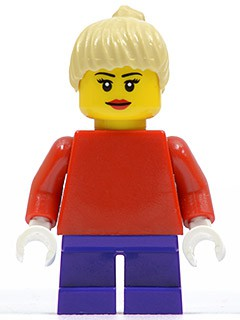 Plain Red Torso with Red Arms, Dark Purple Short Legs, Tan Female Ponytail Hair, Black Eyebrows (10199 alternate)
