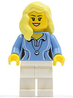 Medium Blue Female Shirt with Two Buttons and Shell Pendant, White Legs, Bright Light Yellow Female Hair over Shoulder