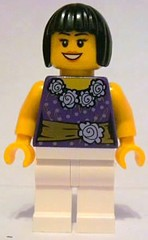 Female Dark Purple Blouse with Gold Sash and Flowers Pattern, White Legs, Black Bob Cut Hair