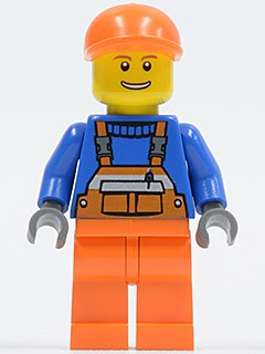 Overalls with Safety Stripe Orange, Orange Legs, Orange Short Bill Cap, Thin Grin with Teeth