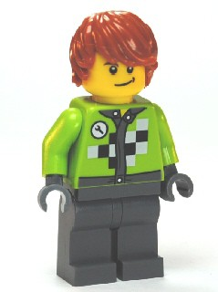 Lime Jacket with Wrench and Black and White Checkered Pattern, Dark Bluish Gray Legs, Dark Orange Hair, Crooked Smile