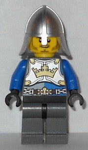 Castle - King's Knight Breastplate with Crown and Chain Belt, Helmet with Neck Protector, Closed Grin with Stubble