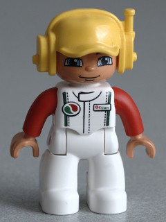 Duplo Figure Lego Ville, Male, White Legs, White Race Top with Octan Logo, Yellow Cap with Headset
