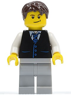 Black Vest with Blue Striped Tie, Light Bluish Gray Legs, White Arms, Dark Brown Short Tousled Hair, Crooked Smile