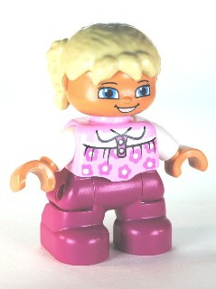 Duplo Figure Lego Ville, Child Girl, Magenta Legs, Bright Pink Top with Flowers, Tan Hair with Braids