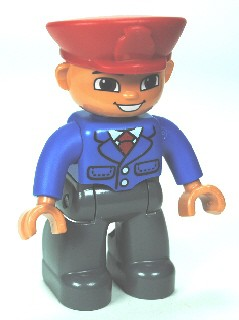 Duplo Figure Lego Ville, Male, Dark Bluish Gray Legs, Blue Jacket with Tie, Red Hat, Smile with Teeth (Train Conductor)
