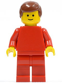 Plain Red Torso with Red Arms, Red Legs, Reddish Brown Male Hair