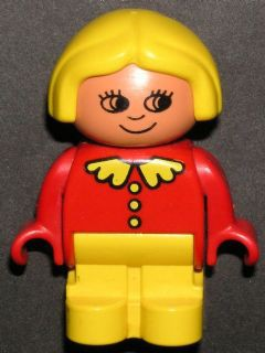 Duplo Figure, Child Type 1 Girl, Yellow Legs, Red Top with Collar And 3 Buttons, Yellow Hair, no White in Eyes Pattern