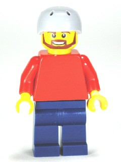 Plain Red Torso with Red Arms, Dark Blue Legs, Sports Helmet and Beard