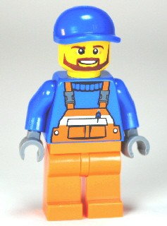 Overalls with Safety Stripe Orange, Orange Legs, Blue Short Bill Cap, Brown Beard (Tow Truck Driver)