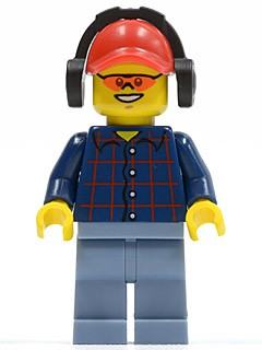 Plaid Button Shirt, Sand Blue Legs, Red Cap with Hole, Headphones