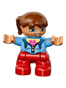 Duplo Figure Lego Ville, Child Girl, Red Legs, Medium Blue Jacket over Shirt with Flower, Pigtails