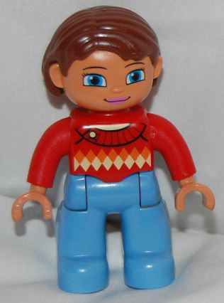 Duplo Figure Lego Ville, Female, Medium Blue Legs, Red Sweater with Diamond Pattern, Reddish Brown Hair, Blue Eyes