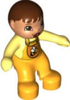 Duplo Figure Lego Ville, Baby, Bright Light Orange Overalls with Bib with Bee Pattern, Pacifier