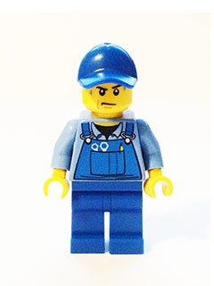 Overalls with Tools in Pocket Blue, Blue Cap with Hole, Sweat Drops