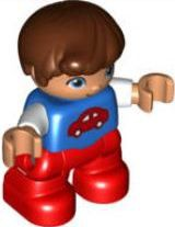 Duplo Figure Lego Ville, Child Boy, Red Legs, Blue Top with Red Car Pattern, Reddish Brown Hair