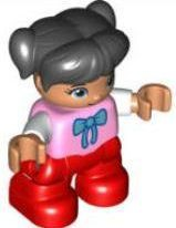 Duplo Figure Lego Ville, Child Girl, Red Legs, Bright Pink Top with Bow Tie, Black Hair with Ponytails
