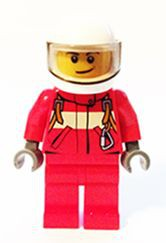 Fire - Pilot Male, Red Fire Suit with Carabiner, Red Legs, White Helmet, Crooked Smile